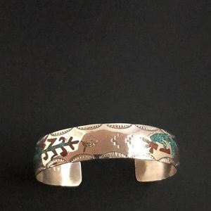Jewelry - Hopi Kokopelli Inlaid Silver Cuff Turquoise Coral